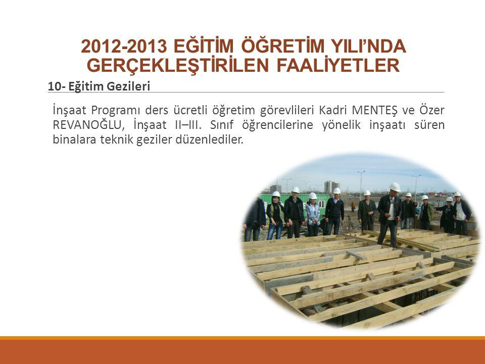 2012-2013 EĞİTİM ÖĞRETİM YILI'NDA GERÇEKLEŞTİRİLEN FAALİYETLER 10- Eğitim Gezileri İnşaat Programı ders ücretli öğretim görevlileri Kadri MENTEŞ ve Öz