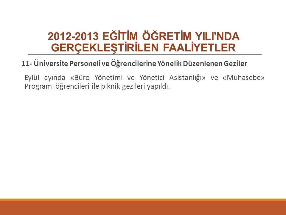 2012-2013 EĞİTİM ÖĞRETİM YILI'NDA GERÇEKLEŞTİRİLEN FAALİYETLER 11- Üniversite Personeli ve Öğrencilerine Yönelik Düzenlenen Geziler Eylül ayında «Büro