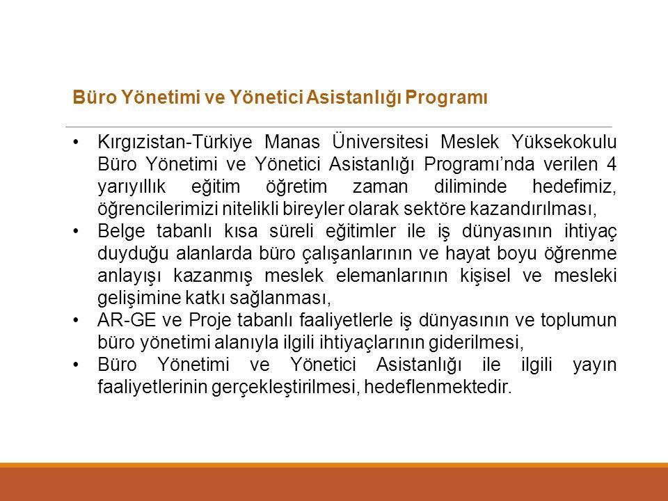 Büro Yönetimi ve Yönetici Asistanlığı Programı Kırgızistan-Türkiye Manas Üniversitesi Meslek Yüksekokulu Büro Yönetimi ve Yönetici Asistanlığı Program