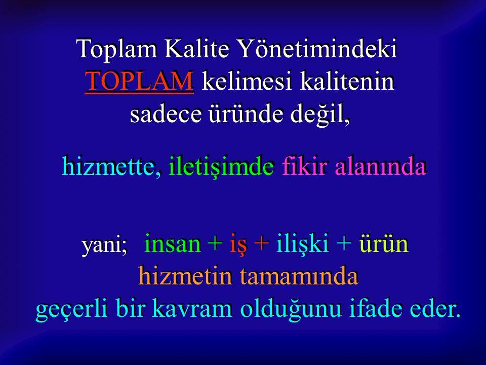 Toplam Kalite Yönetimindeki TOPLAM kelimesi kalitenin sadece üründe değil, Toplam Kalite Yönetimindeki TOPLAM kelimesi kalitenin sadece üründe değil,