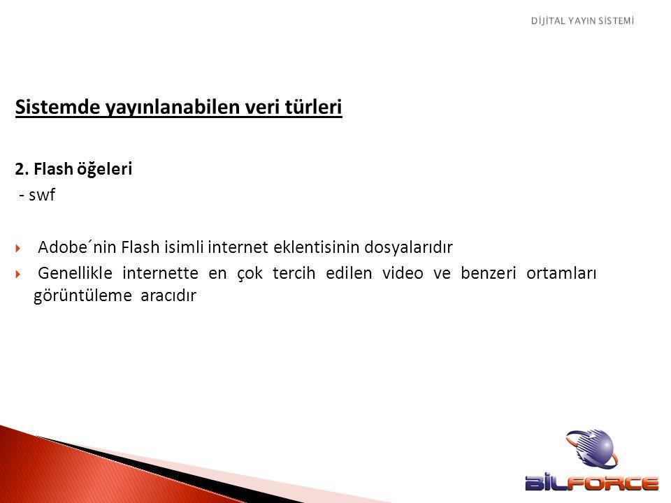 Sistemde yayınlanabilen veri türleri 2. Flash öğeleri - swf  Adobe´nin Flash isimli internet eklentisinin dosyalarıdır  Genellikle internette en çok