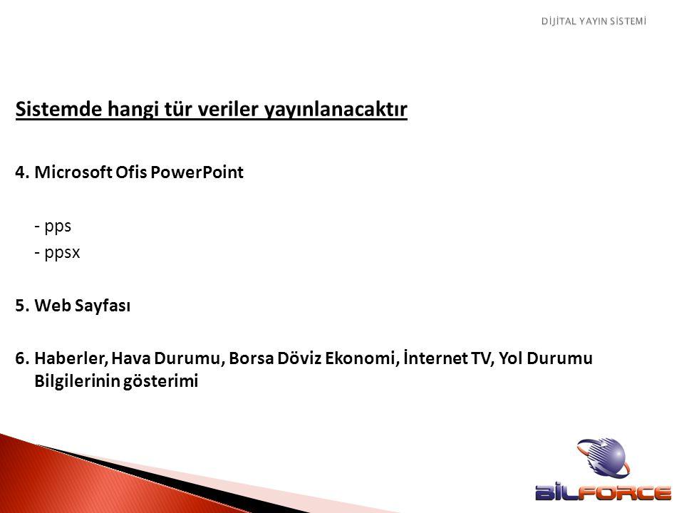 Sistemde hangi tür veriler yayınlanacaktır 4. Microsoft Ofis PowerPoint - pps - ppsx 5. Web Sayfası 6. Haberler, Hava Durumu, Borsa Döviz Ekonomi, İnt
