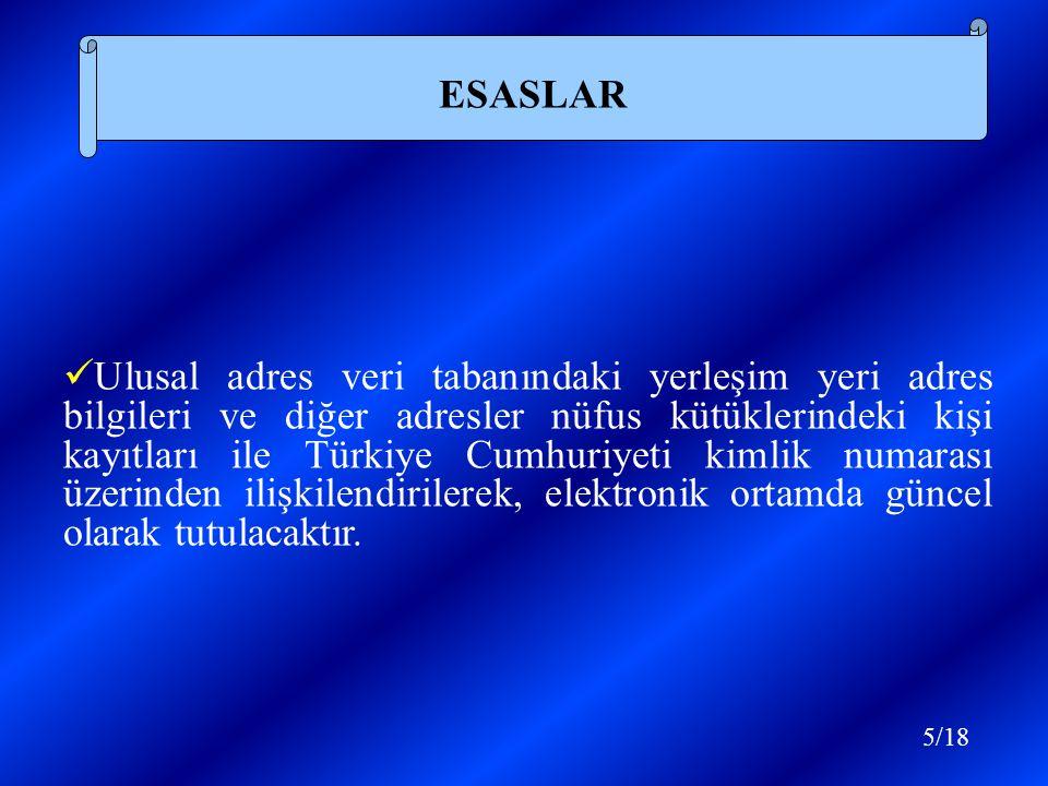 Ulusal adres veri tabanındaki yerleşim yeri adres bilgileri ve diğer adresler nüfus kütüklerindeki kişi kayıtları ile Türkiye Cumhuriyeti kimlik numarası üzerinden ilişkilendirilerek, elektronik ortamda güncel olarak tutulacaktır.