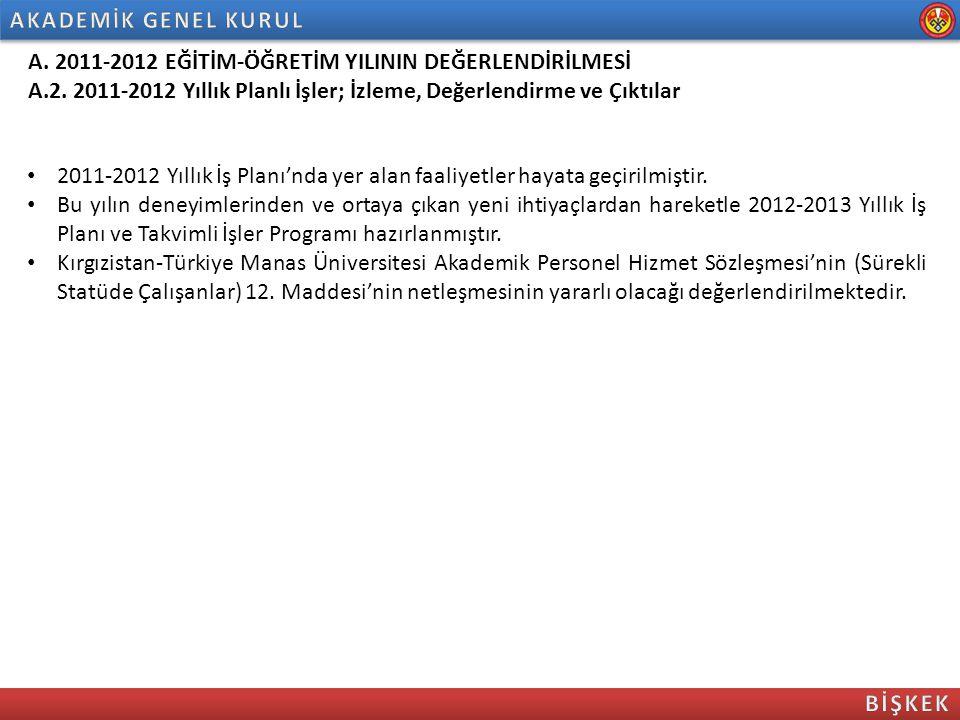A. 2011-2012 EĞİTİM-ÖĞRETİM YILININ DEĞERLENDİRİLMESİ A.2. 2011-2012 Yıllık Planlı İşler; İzleme, Değerlendirme ve Çıktılar 2011-2012 Yıllık İş Planı'