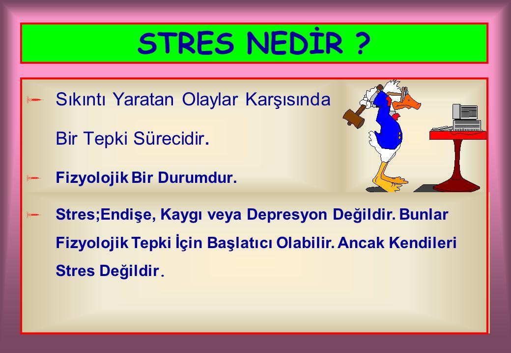 STRES NEDİR ?  Sıkıntı Yaratan Olaylar Karşısında Bir Tepki Sürecidir.  Fizyolojik Bir Durumdur.  Stres;Endişe, Kaygı veya Depresyon Değildir. Bunl