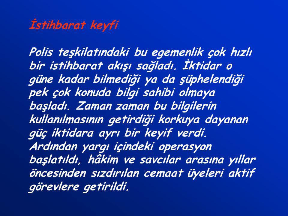 Fethullah Gülen devrede Derin devleti sadece istihbarat ve gizli operasyonlar olarak algılayan AKP'ye ilk destek Fethullah Gülen cemaatinden geldi. Eğ