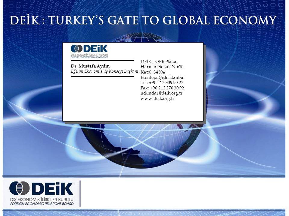 37 DEİK TOBB Plaza Harman Sokak No:10 Kat:6 34394 Esentepe Şişli İstanbul Tel: +90 212 339 50 22 Fax: +90 212 270 30 92 ndundar@deik.org.tr www.deik.org.tr Dr.