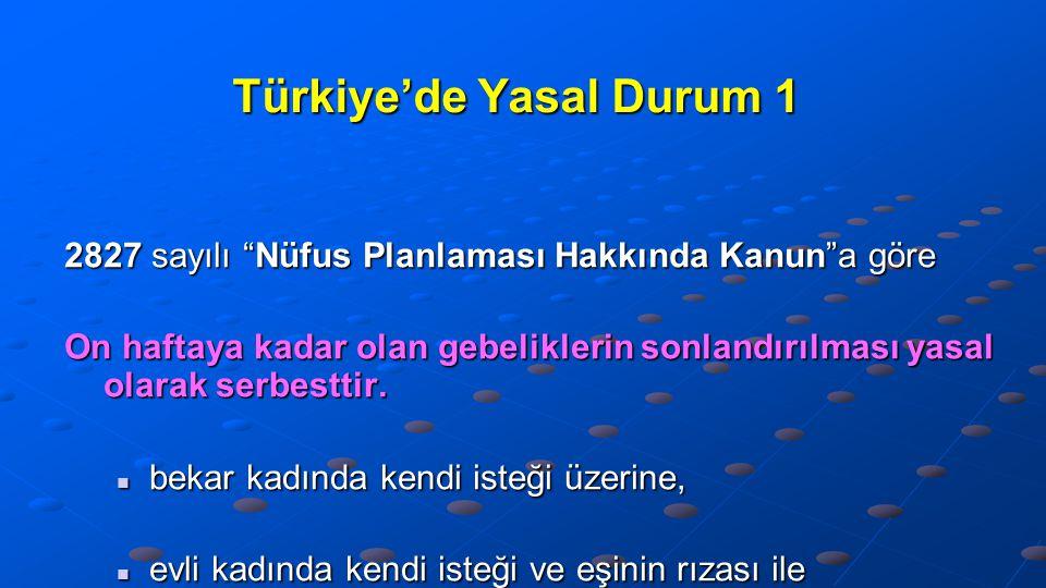 """Türkiye'de Yasal Durum 1 2827 sayılı """"Nüfus Planlaması Hakkında Kanun""""a göre On haftaya kadar olan gebeliklerin sonlandırılması yasal olarak serbestti"""