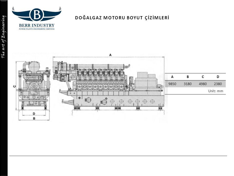 The art of Engineering ABCD 9850318049802380 Unit: mm DOĞALGAZ MOTORU BOYUT ÇİZİMLERİ