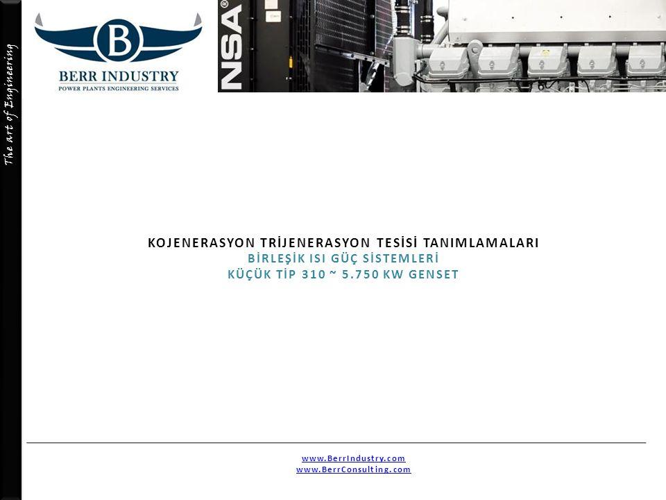 The art of Engineering KOJENERASYON TRİJENERASYON TESİSİ TANIMLAMALARI BİRLEŞİK ISI GÜÇ SİSTEMLERİ KÜÇÜK TİP 310 ~ 5.750 KW GENSET www.BerrIndustry.co