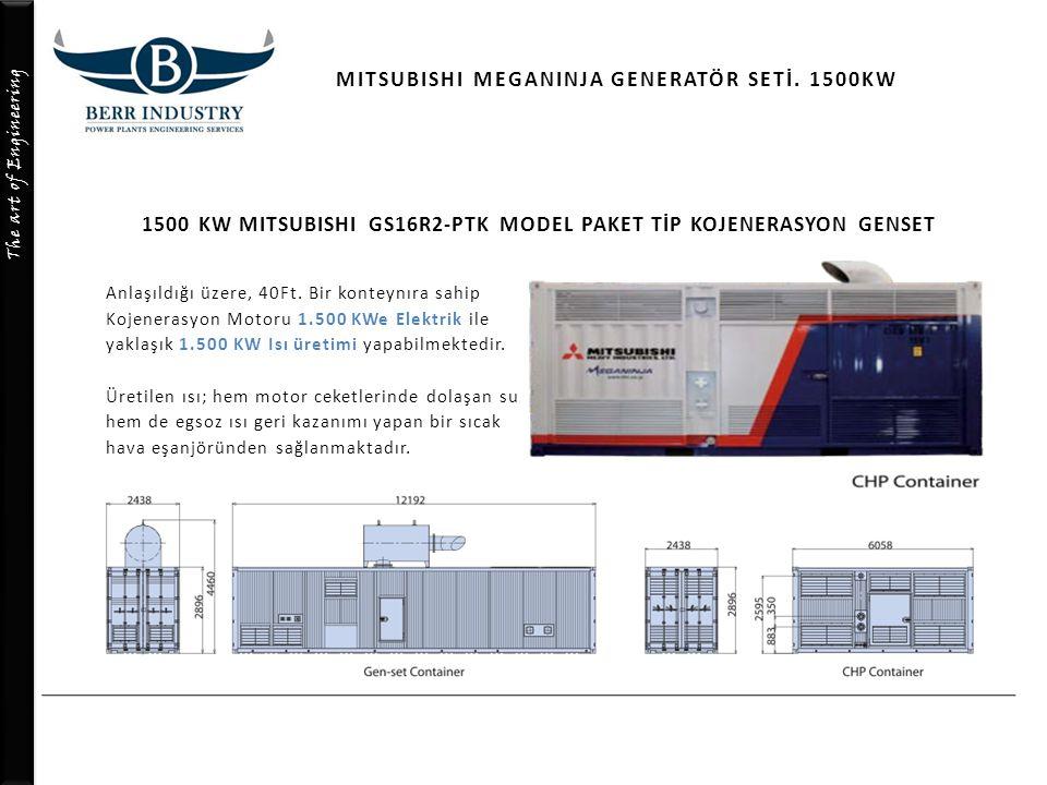 The art of Engineering MITSUBISHI MEGANINJA GENERATÖR SETİ. 1500KW Anlaşıldığı üzere, 40Ft. Bir konteynıra sahip Kojenerasyon Motoru 1.500 KWe Elektri