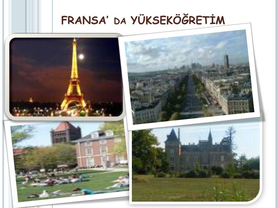 FRANSA' DA YÜKSEKÖĞRETİM