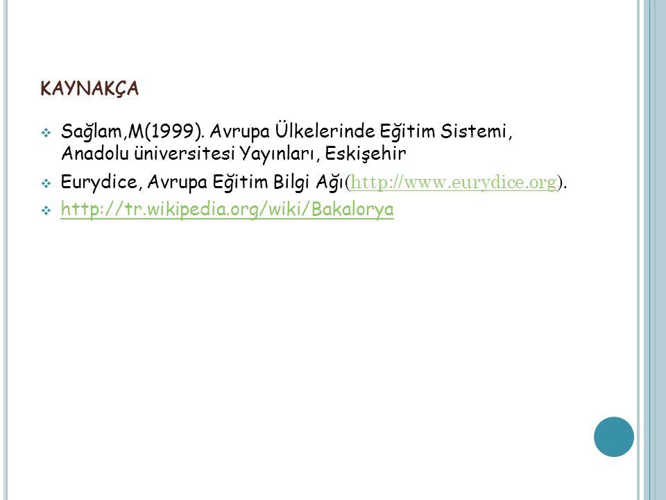 KAYNAKÇA  Sağlam,M(1999). Avrupa Ülkelerinde Eğitim Sistemi, Anadolu üniversitesi Yayınları, Eskişehir  Eurydice, Avrupa Eğitim Bilgi Ağı (http://ww