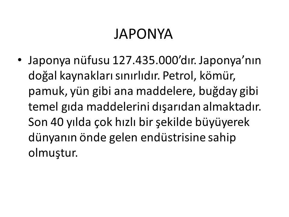 JAPONYA Japonya nüfusu 127.435.000'dır.Japonya'nın doğal kaynakları sınırlıdır.
