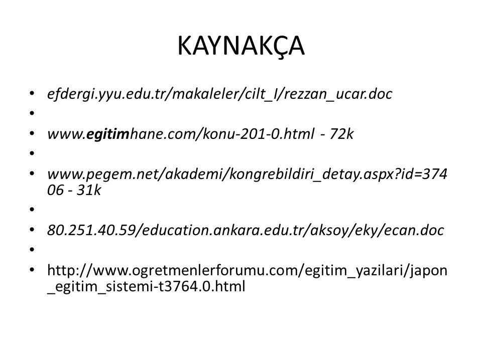 KAYNAKÇA efdergi.yyu.edu.tr/makaleler/cilt_I/rezzan_ucar.doc www.egitimhane.com/konu-201-0.html - 72k www.pegem.net/akademi/kongrebildiri_detay.aspx?id=374 06 - 31k 80.251.40.59/education.ankara.edu.tr/aksoy/eky/ecan.doc http://www.ogretmenlerforumu.com/egitim_yazilari/japon _egitim_sistemi-t3764.0.html