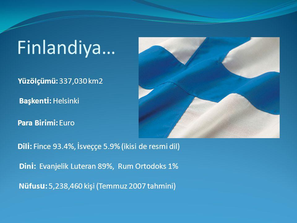 Finlandiya… Yüzölçümü: 337,030 km2 Başkent i : Helsinki Para Birimi: Euro Dil i : Fince 93.4%, İsveççe 5.9% (ikisi de resmi dil) Din i : Evanjelik Lut