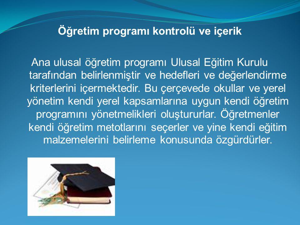 Öğretim programı kontrolü ve içerik Ana ulusal öğretim programı Ulusal Eğitim Kurulu tarafından belirlenmiştir ve hedefleri ve değerlendirme kriterler