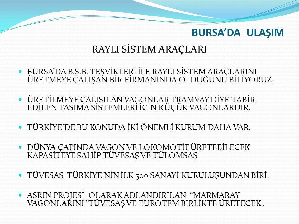 BURSA'DA ULAŞIM RAYLI SİSTEM ARAÇLARI BURSA'DA B.Ş.B.