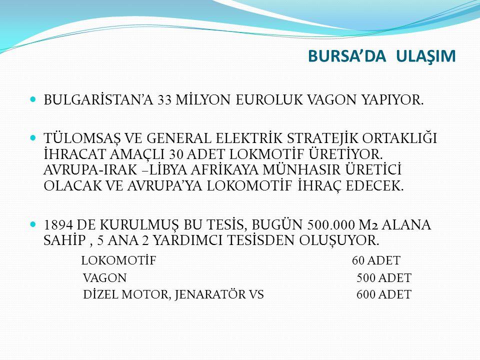 BURSA'DA ULAŞIM BULGARİSTAN'A 33 MİLYON EUROLUK VAGON YAPIYOR. TÜLOMSAŞ VE GENERAL ELEKTRİK STRATEJİK ORTAKLIĞI İHRACAT AMAÇLI 30 ADET LOKMOTİF ÜRETİY
