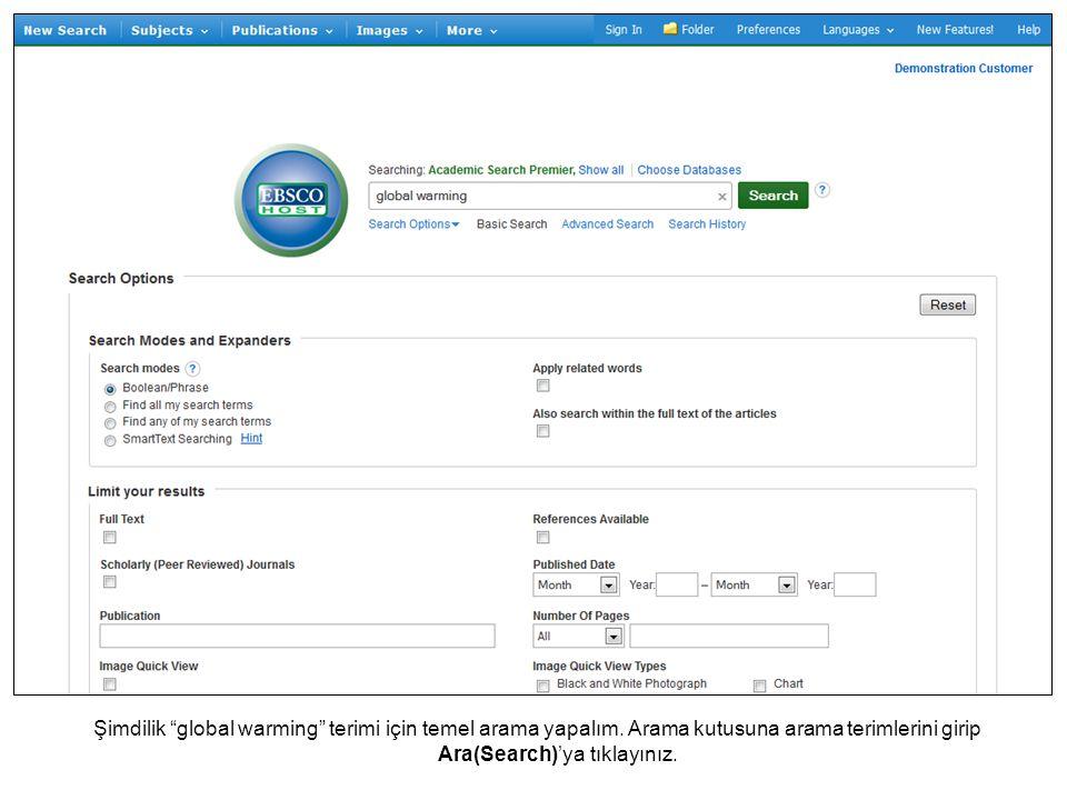 İstediğiniz zaman online Yardım sisteminin tamamını görmek için Yardım(Help) linkine tıklayınız.