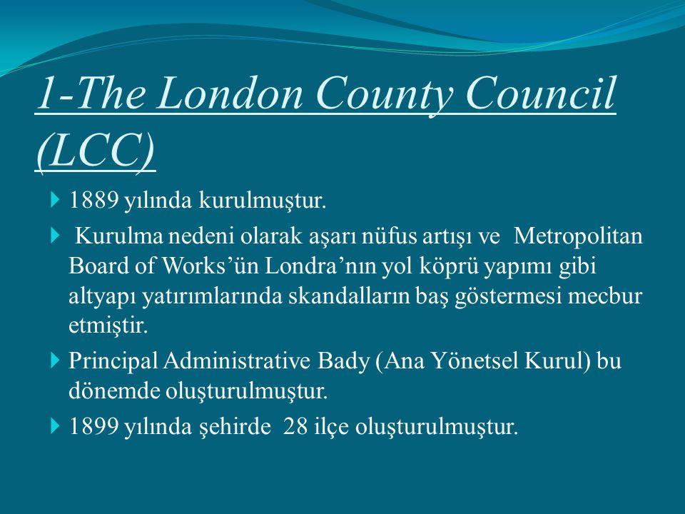 1-The London County Council (LCC)  1889 yılında kurulmuştur.  Kurulma nedeni olarak aşarı nüfus artışı ve Metropolitan Board of Works'ün Londra'nın