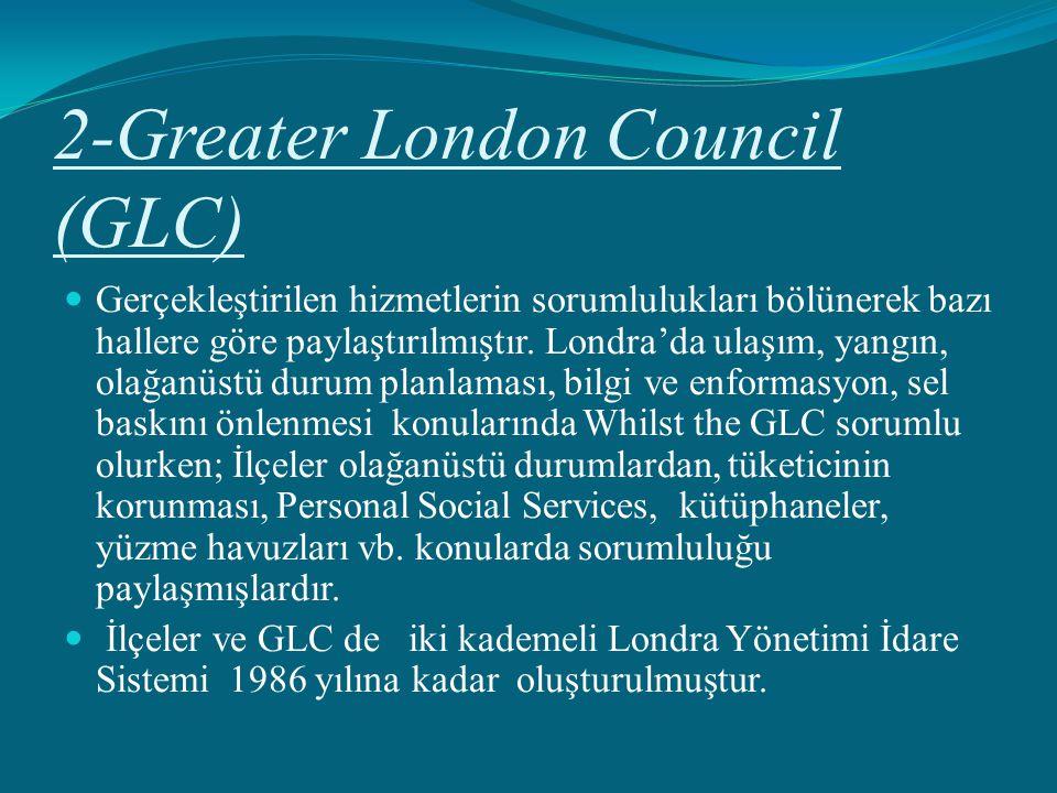 2-Greater London Council (GLC) Gerçekleştirilen hizmetlerin sorumlulukları bölünerek bazı hallere göre paylaştırılmıştır. Londra'da ulaşım, yangın, ol