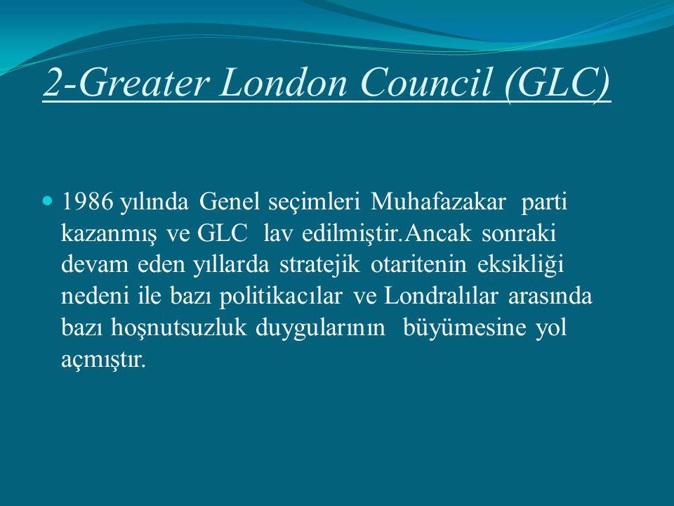 2-Greater London Council (GLC) 1986 yılında Genel seçimleri Muhafazakar parti kazanmış ve GLC lav edilmiştir.Ancak sonraki devam eden yıllarda stratej