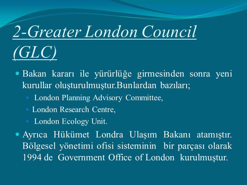 2-Greater London Council (GLC) Bakan kararı ile yürürlüğe girmesinden sonra yeni kurullar oluşturulmuştur.Bunlardan bazıları; London Planning Advisory