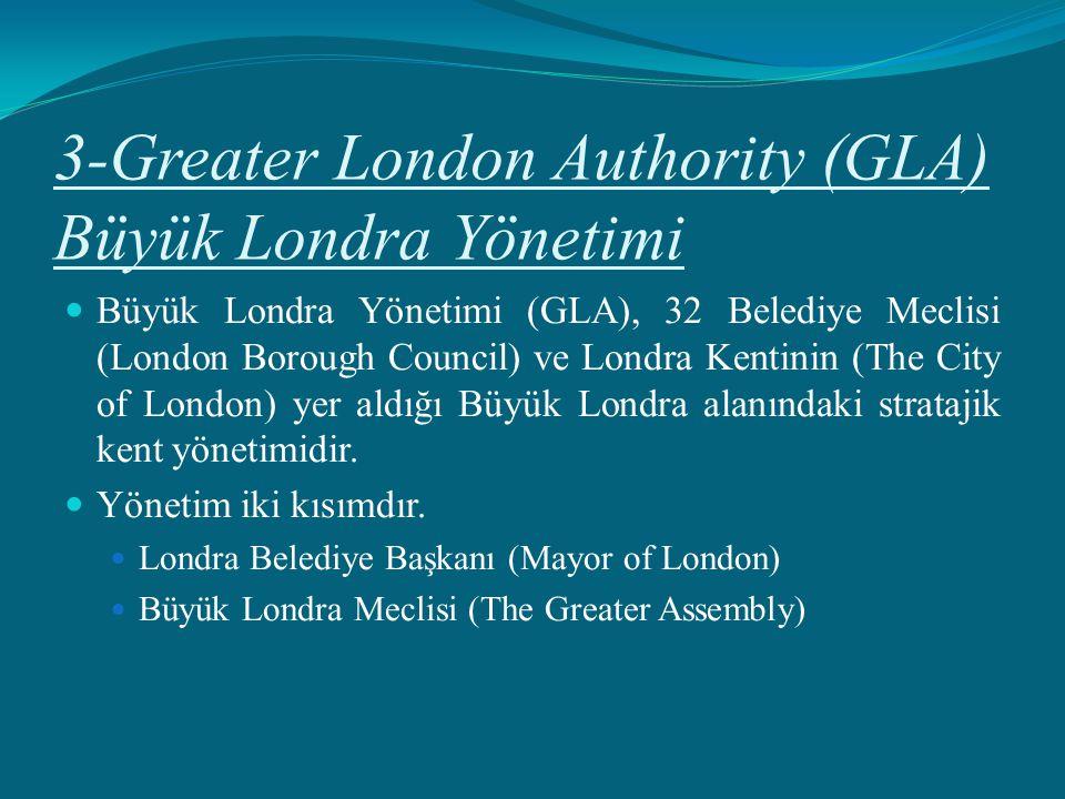 3-Greater London Authority (GLA) Büyük Londra Yönetimi Büyük Londra Yönetimi (GLA), 32 Belediye Meclisi (London Borough Council) ve Londra Kentinin (T