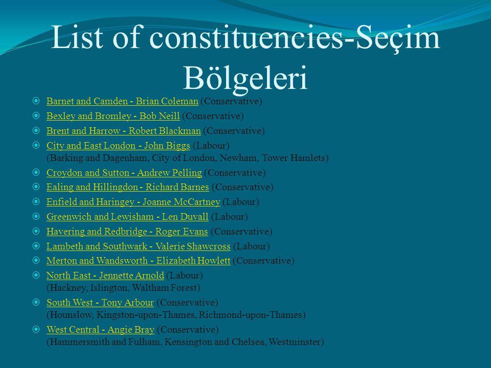 List of constituencies-Seçim Bölgeleri  Barnet and Camden - Brian Coleman (Conservative) Barnet and Camden - Brian Coleman  Bexley and Bromley - Bob