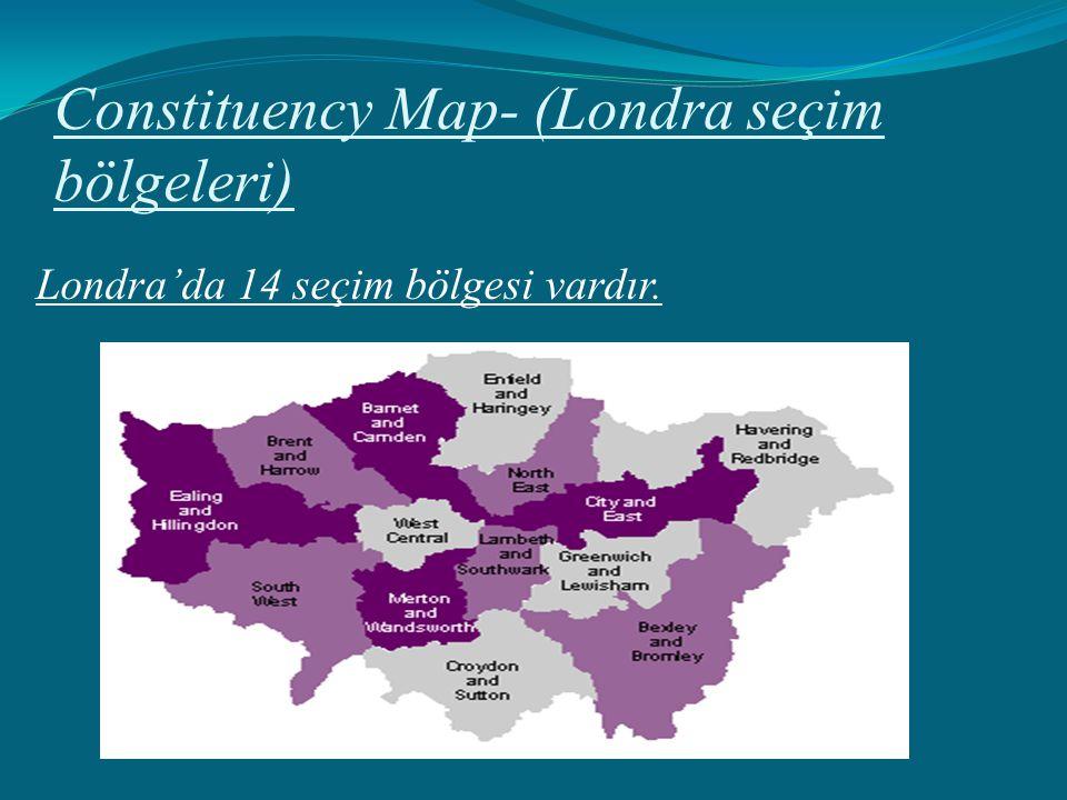 Constituency Map- (Londra seçim bölgeleri) Londra'da 14 seçim bölgesi vardır.