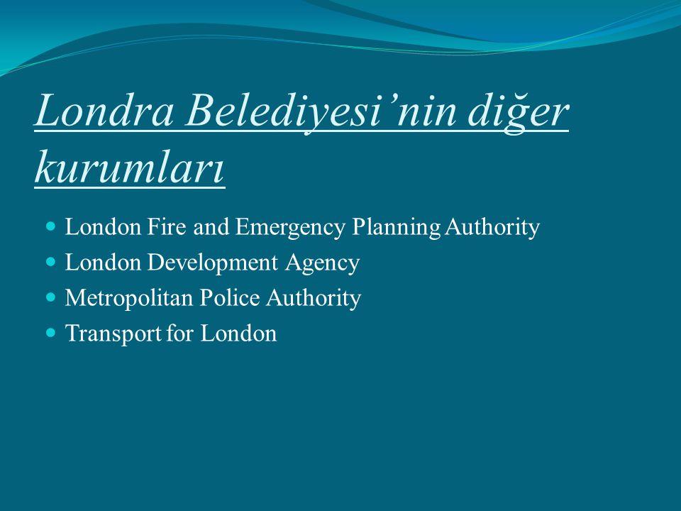 Londra Belediyesi'nin diğer kurumları London Fire and Emergency Planning Authority London Development Agency Metropolitan Police Authority Transport f