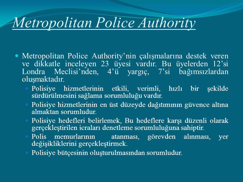 Metropolitan Police Authority Metropolitan Police Authority'nin çalışmalarına destek veren ve dikkatle inceleyen 23 üyesi vardır. Bu üyelerden 12'si L