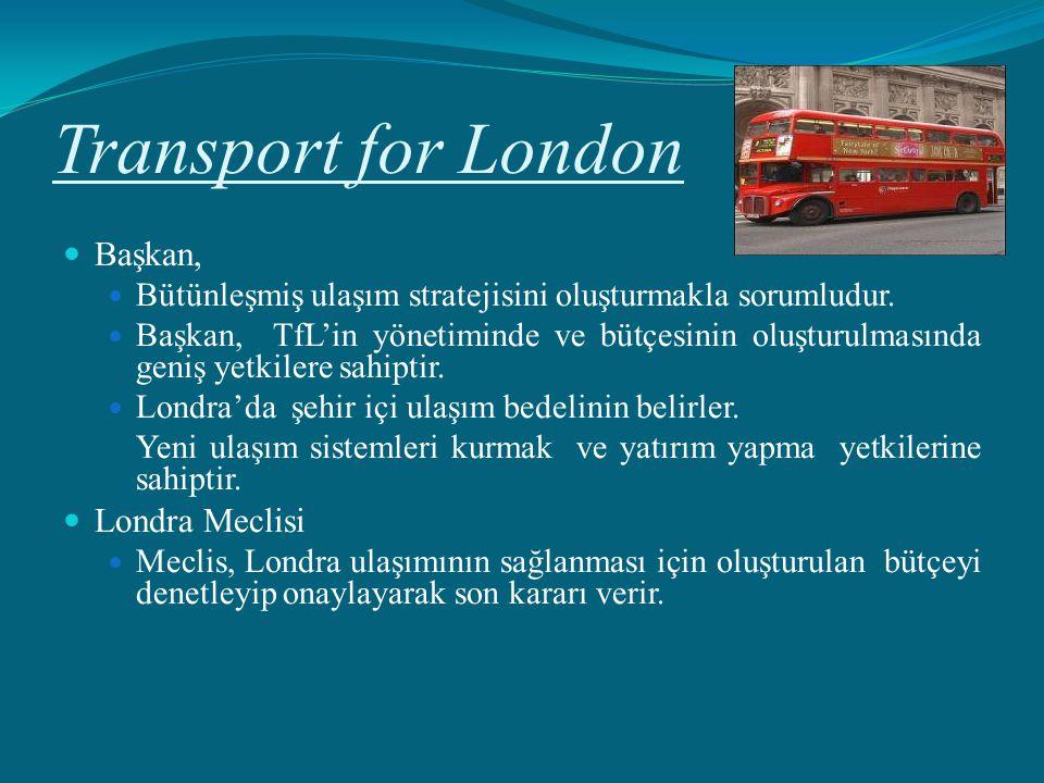Transport for London Başkan, Bütünleşmiş ulaşım stratejisini oluşturmakla sorumludur. Başkan, TfL'in yönetiminde ve bütçesinin oluşturulmasında geniş