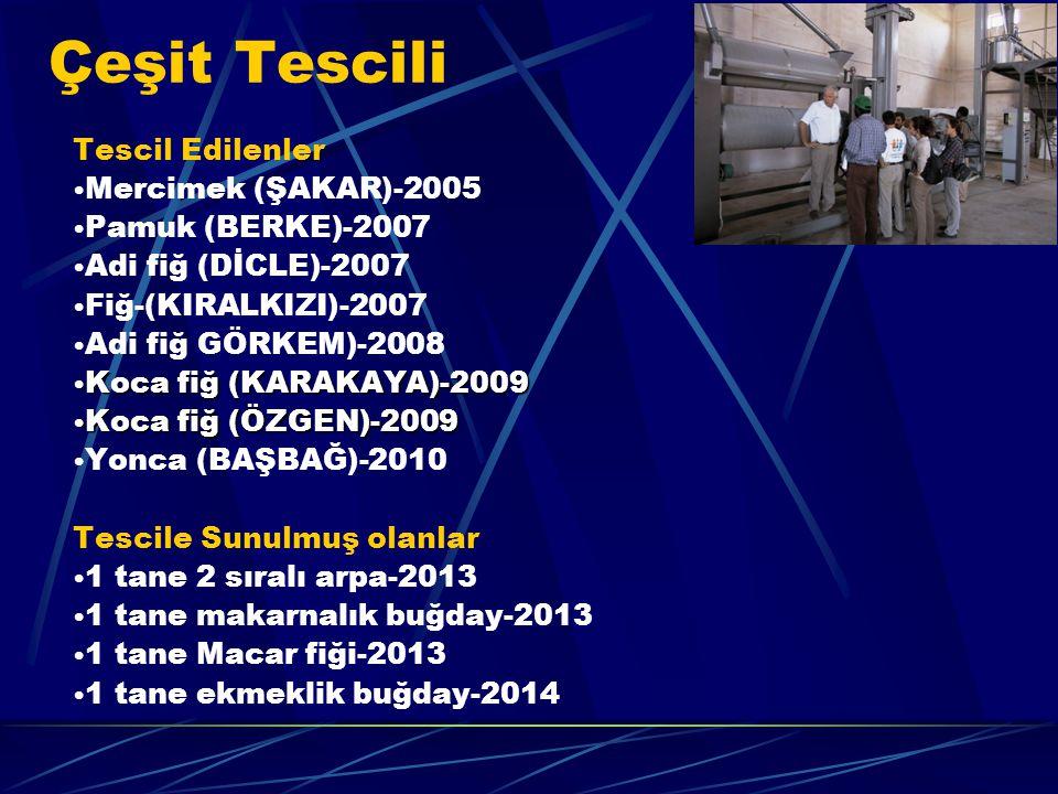 Tescil Edilenler Mercimek (ŞAKAR)-2005 Pamuk (BERKE)-2007 Adi fiğ (DİCLE)-2007 Fiğ-(KIRALKIZI)-2007 Adi fiğ GÖRKEM)-2008 Koca fiğ (KARAKAYA)-2009 Koca fiğ (KARAKAYA)-2009 Koca fiğ (ÖZGEN)-2009 Koca fiğ (ÖZGEN)-2009 Yonca (BAŞBAĞ)-2010 Tescile Sunulmuş olanlar 1 tane 2 sıralı arpa-2013 1 tane makarnalık buğday-2013 1 tane Macar fiği-2013 1 tane ekmeklik buğday-2014 Çeşit Tescili