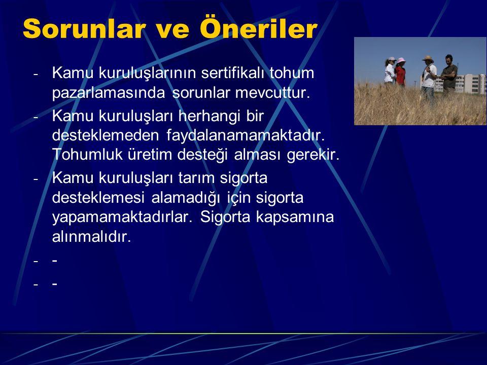 - Kamu kuruluşlarının sertifikalı tohum pazarlamasında sorunlar mevcuttur.