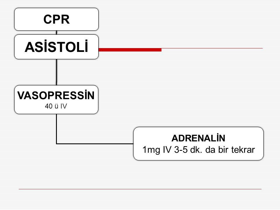 Devam eden Asistoli Resüsitasyonun kalitesini değerlendir Resüsitasyonun kalitesini değerlendir Atipik olgular ( Hipotermi, ilaç OD): resüsitasyonu uz
