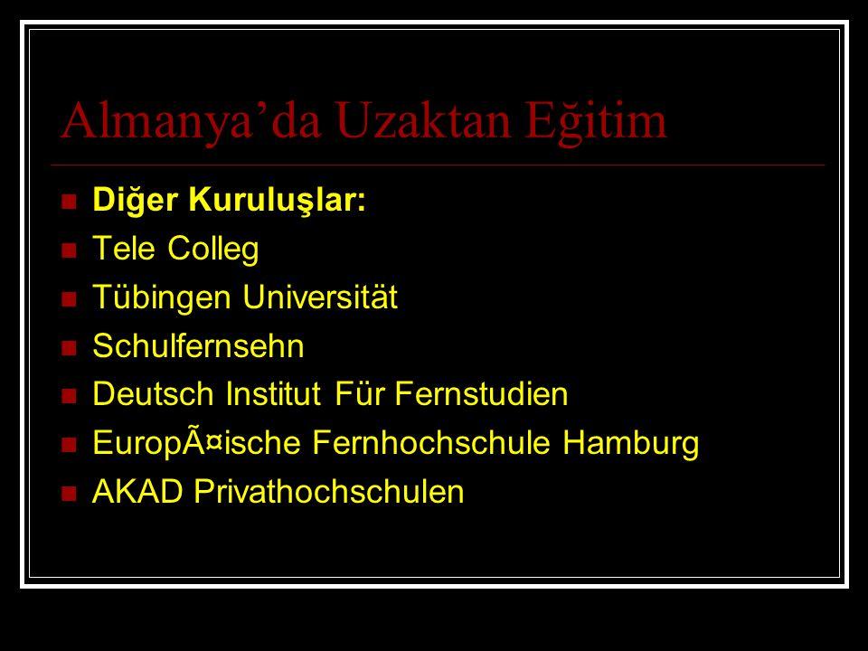 Almanya'da Uzaktan Eğitim Diğer Kuruluşlar: Tele Colleg Tübingen Universität Schulfernsehn Deutsch Institut Für Fernstudien Europäische Fernhochschul