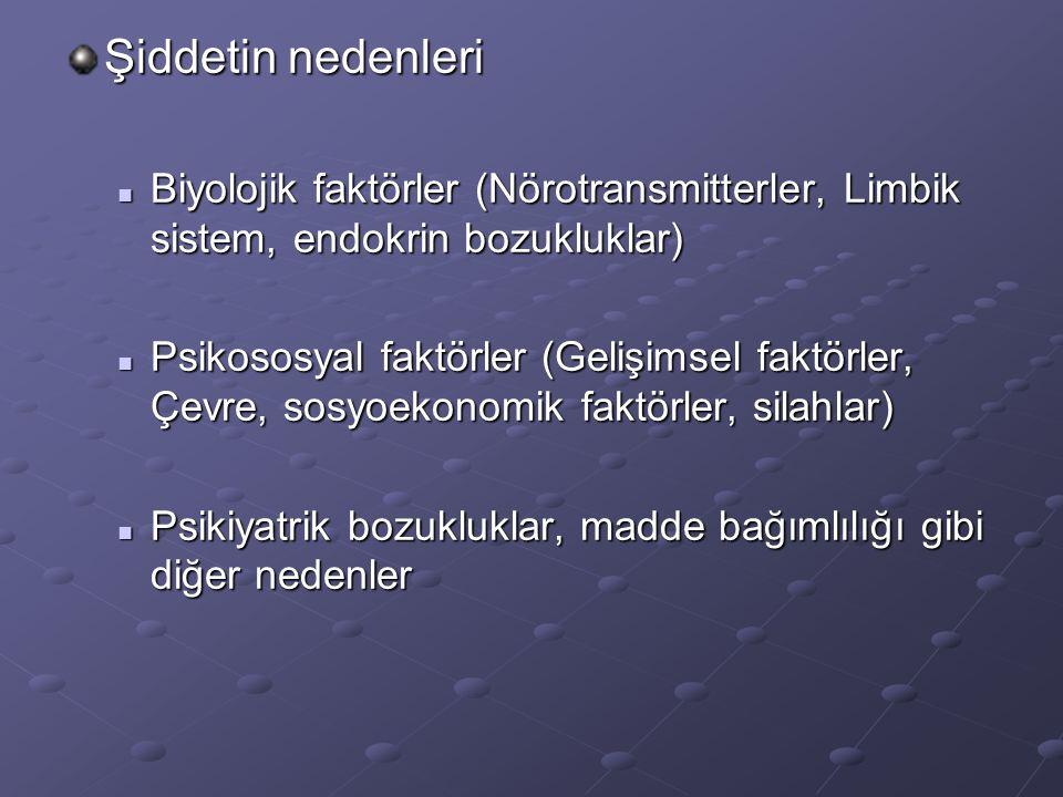 Şiddetin nedenleri Biyolojik faktörler (Nörotransmitterler, Limbik sistem, endokrin bozukluklar) Biyolojik faktörler (Nörotransmitterler, Limbik sistem, endokrin bozukluklar) Psikososyal faktörler (Gelişimsel faktörler, Çevre, sosyoekonomik faktörler, silahlar) Psikososyal faktörler (Gelişimsel faktörler, Çevre, sosyoekonomik faktörler, silahlar) Psikiyatrik bozukluklar, madde bağımlılığı gibi diğer nedenler Psikiyatrik bozukluklar, madde bağımlılığı gibi diğer nedenler