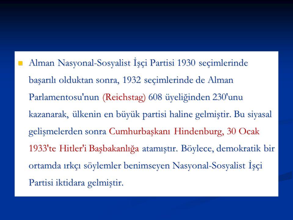 Alman Nasyonal-Sosyalist İşçi Partisi 1930 seçimlerinde başarılı olduktan sonra, 1932 seçimlerinde de Alman Parlamentosu'nun (Reichstag) 608 üyeliğind