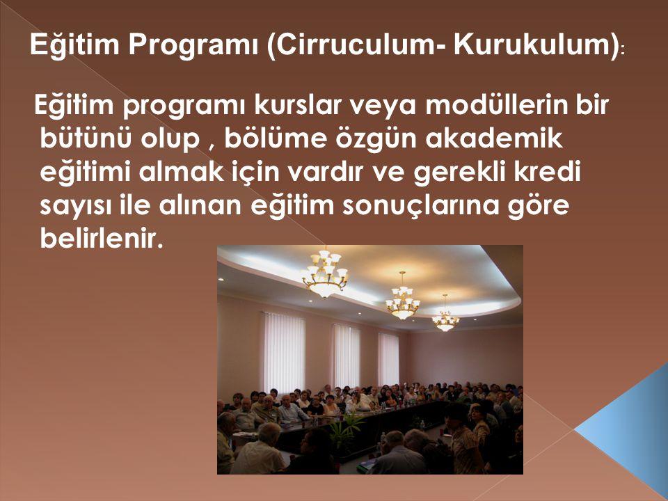 Eğitim programı kurslar veya modüllerin bir bütünü olup, bölüme özgün akademik eğitimi almak için vardır ve gerekli kredi sayısı ile alınan eğitim sonuçlarına göre belirlenir.