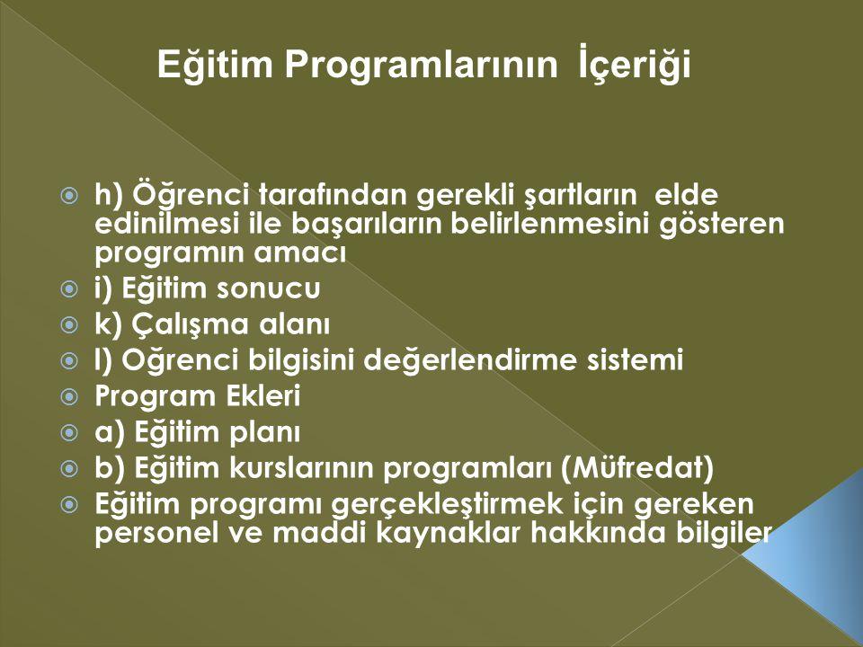  h) Öğrenci tarafından gerekli şartların elde edinilmesi ile başarıların belirlenmesini gösteren programın amacı  i) Eğitim sonucu  k) Çalışma alanı  l) Oğrenci bilgisini değerlendirme sistemi  Program Ekleri  a) Eğitim planı  b) Eğitim kurslarının programları (Müfredat)  Eğitim programı gerçekleştirmek için gereken personel ve maddi kaynaklar hakkında bilgiler Eğitim Programlarının İçeriği