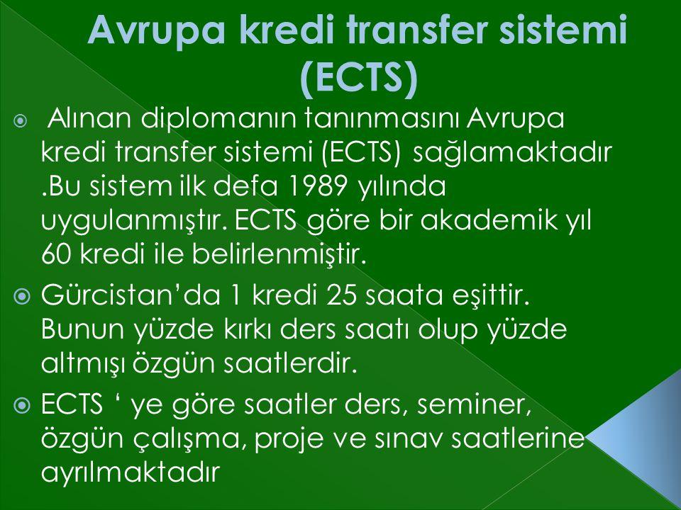  Alınan diplomanın tanınmasını Avrupa kredi transfer sistemi (ECTS) sağlamaktadır.Bu sistem ilk defa 1989 yılında uygulanmıştır.