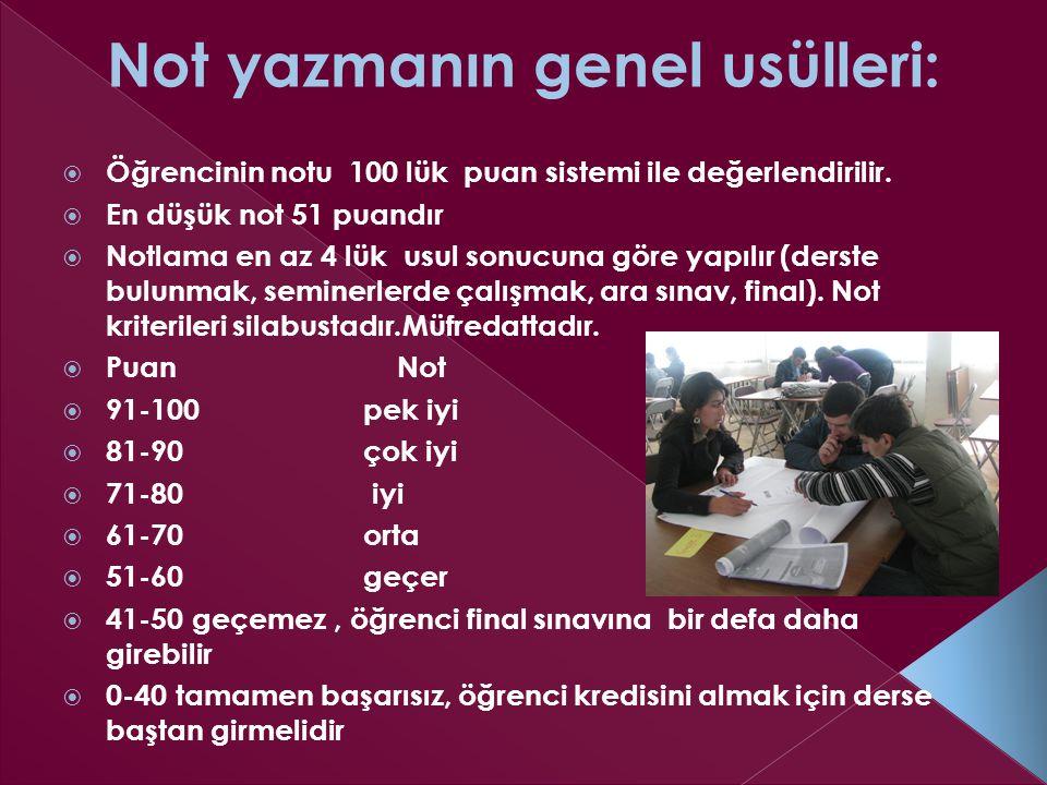  Öğrencinin notu 100 lük puan sistemi ile değerlendirilir.