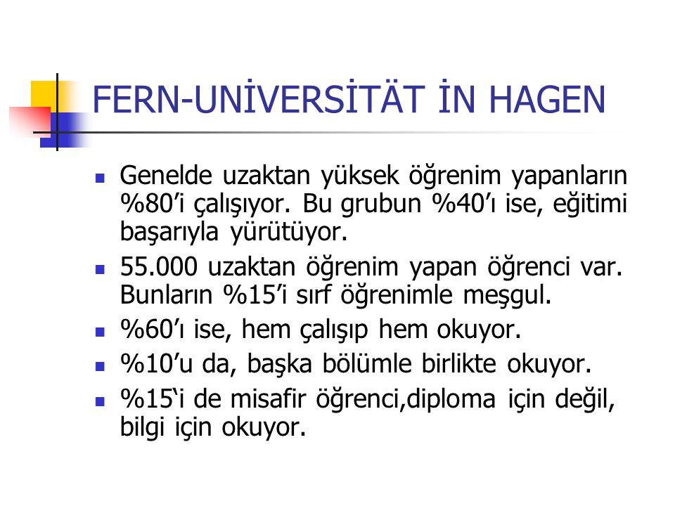 FERN-UNİVERSİTÄT İN HAGEN Genelde uzaktan yüksek öğrenim yapanların %80'i çalışıyor. Bu grubun %40'ı ise, eğitimi başarıyla yürütüyor. 55.000 uzaktan