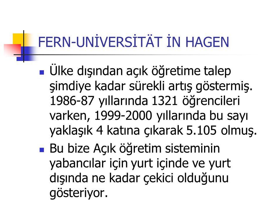 FERN-UNİVERSİTÄT İN HAGEN Ülke dışından açık öğretime talep şimdiye kadar sürekli artış göstermiş. 1986-87 yıllarında 1321 öğrencileri varken, 1999-20