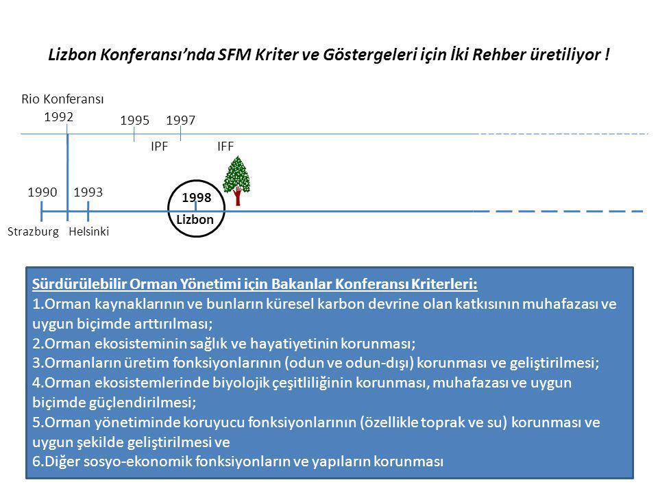 Lizbon Konferansı'nda SFM Kriter ve Göstergeleri için İki Rehber üretiliyor ! Rio Konferansı 1992 1995 IPF 1997 IFF 19931990 1998 Strazburg Helsinki L