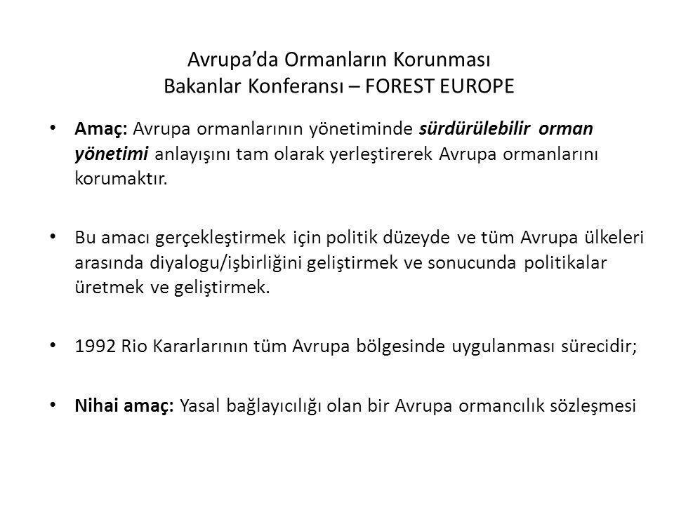 Avrupa'da Ormanların Korunması Bakanlar Konferansı – FOREST EUROPE Kararların hukuki olarak bir bağlayıcılığı olmamakla birlikte, hükümetlere politik-siyasi yükümlülükler getirmektedir.