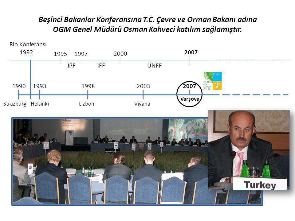 Beşinci Bakanlar Konferansına T.C. Çevre ve Orman Bakanı adına OGM Genel Müdürü Osman Kahveci katılım sağlamıştır. Rio Konferansı 1992 1995 IPF 1997 2