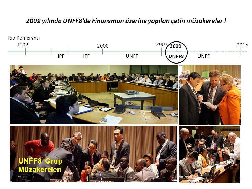 2009 yılında UNFF8'de Finansman üzerine yapılan çetin müzakereler ! Rio Konferansı 1992 IPF 2000 IFF 2007 UNFF 2015 19931990199820032007 HelsinkiLizbo